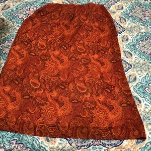 Pierre Cardin orange & brown paisley skirt